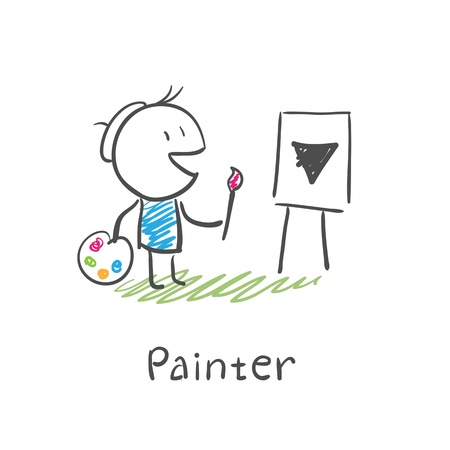 Painter artist Illustration