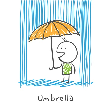 sullen: Man with umbrella under rain