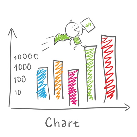 man presenting: Super businessman and statistics chart