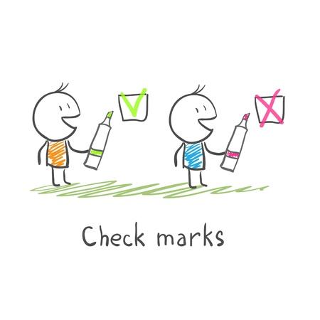 Los hombres y las marcas de verificación