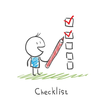 Man het controleren van de checklist dozen