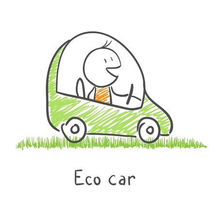 smily: Eco friendly car Illustration