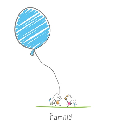 풍선을 들고 행복한 가족
