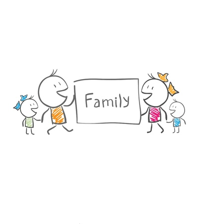 The family holds a poster Stock Vector - 14579895