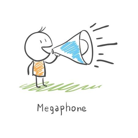 Hombre de dibujos animados y el megáfono Ilustración de vector