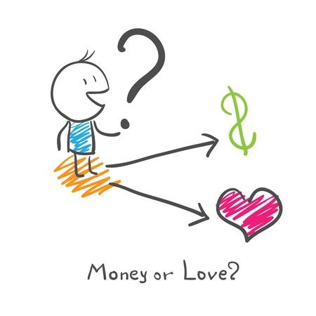 A man chooses money or love? Vector