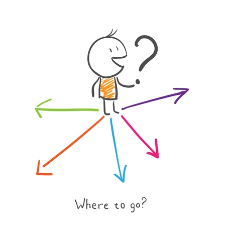 leaving: Waar moet ik heen? De mens kiest waar te gaan. Stock Illustratie