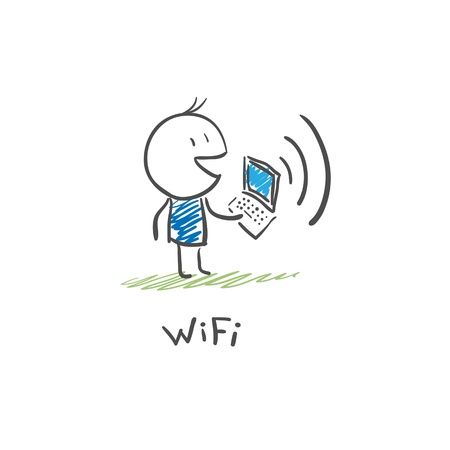 wi: The man with the laptop to connect to the Internet via Wi Fi