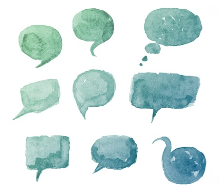 freehand drawing: watercolor hand drawn speech bubbles  Creative talk symbol