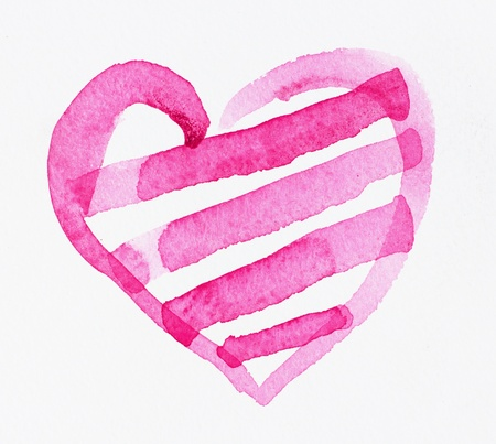 pink watercolor heart photo