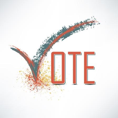 verkiezingen: Stem tekst met vinkje Stock Illustratie