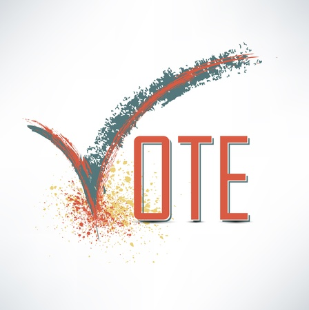 right to vote: Vote text with check mark Illustration