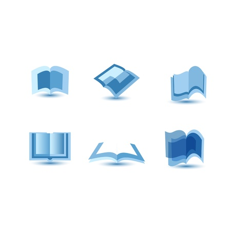 bookshop:  illustration of blue book icons