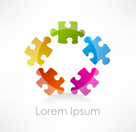 Colorful puzzle piece  icon Vector