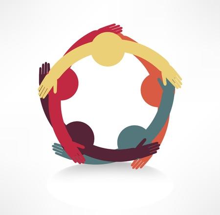 manos juntas: icono de conexi�n de las manos