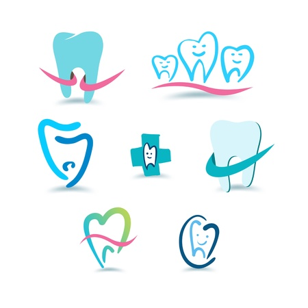 dolor de muelas: Dental iconos Estomatolog�a Vectores