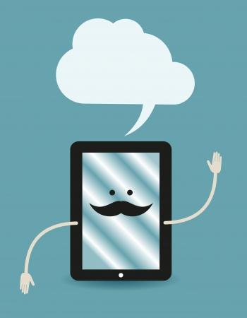 accessing: Tablet PC anunciante Vectores