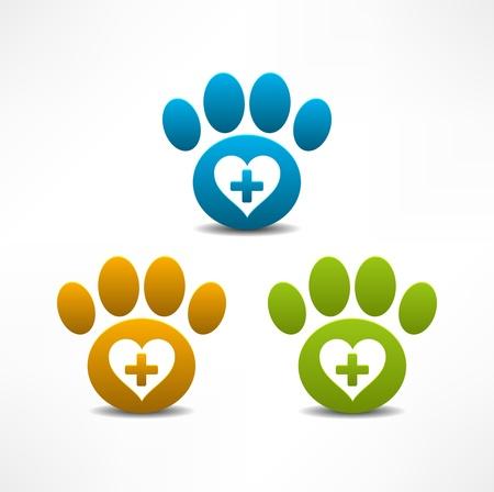 키트: 수의학 클리닉 상징 동물 발 인쇄