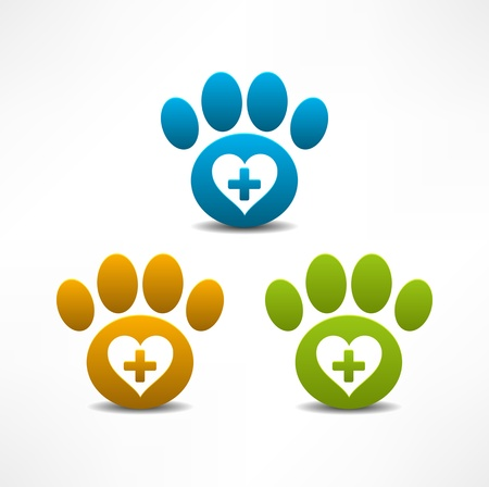 cat grooming: Veterinary Clinic symbol  Animal paw print