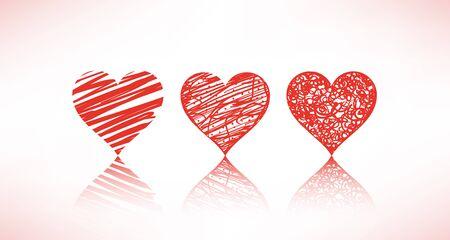 set of scribble hearts Vector