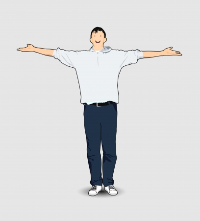Man with his hands Vector