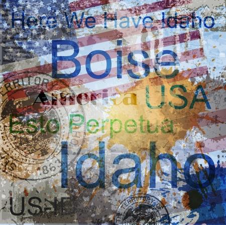 travel collage: Idaho  Word Grunge collage on background