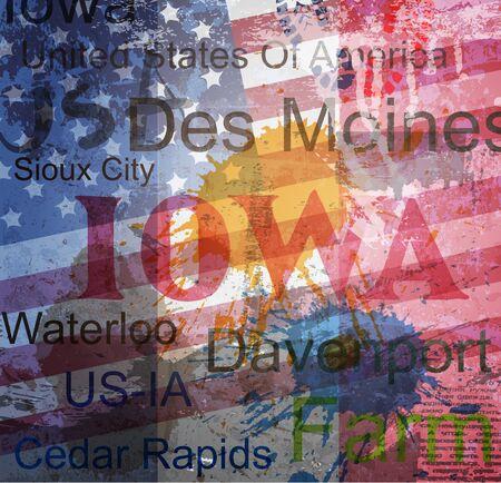Iowa State  Word Grunge collage on background  Vector