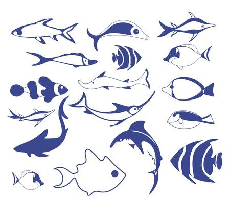 Les icônes de poissons Banque d'images - 15127648