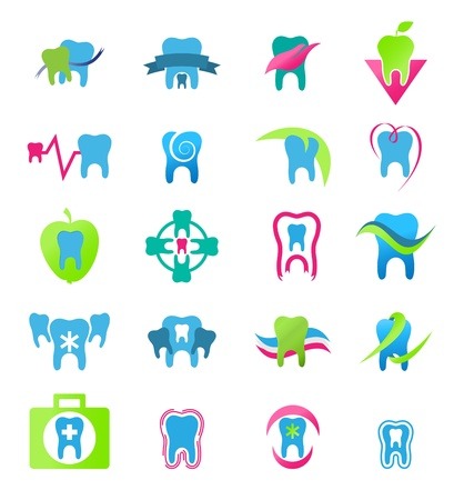 mal di denti: Icone dentali. Stomatologia nel vettore