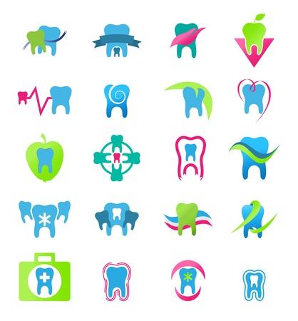 dolor de muelas: Iconos dentales. Estomatolog�a en vector Vectores