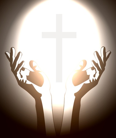jesus hands: hand and christian cross silhouette Illustration