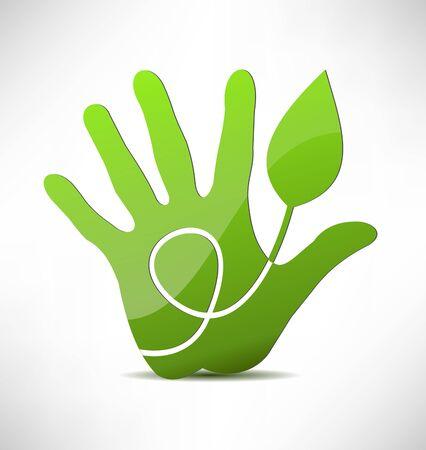 green  eco hand Stock Vector - 15179150