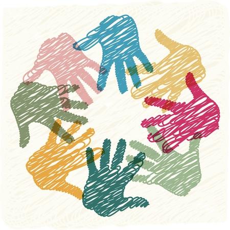 communication occupation: Lavoro di squadra mani Vettoriali