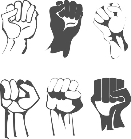 protest signs: clenched fist set Illustration