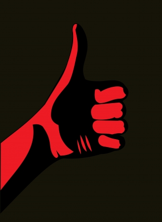 Thumb up. Red  Illustration