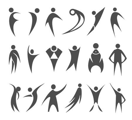 figuras abstractas: personas iconos Vectores