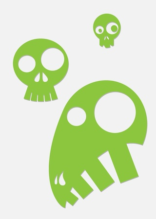 green stylized skull