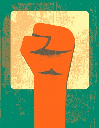 boycott: Red clenched fist retro poster Illustration