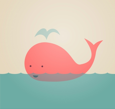 underwater fishes: Cute Whale Illustration