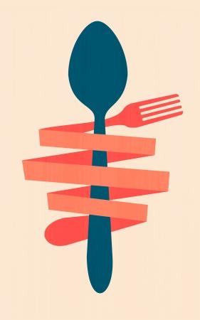 cuchara y tenedor: restaurante cartel del vintage retro men�