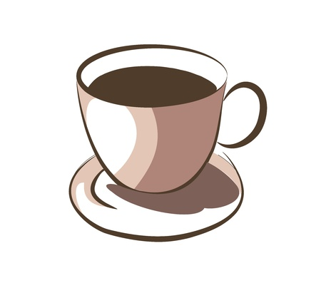 steaming: Hot coffee on cup Illustration
