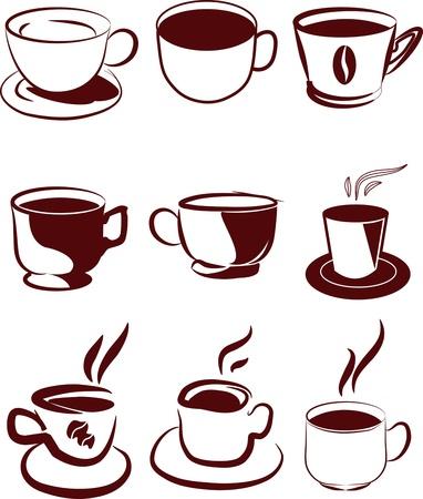 coffee icons set Vettoriali