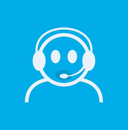 contact centre: Headset Contact. Live Help. Support icon. Vector Illustration