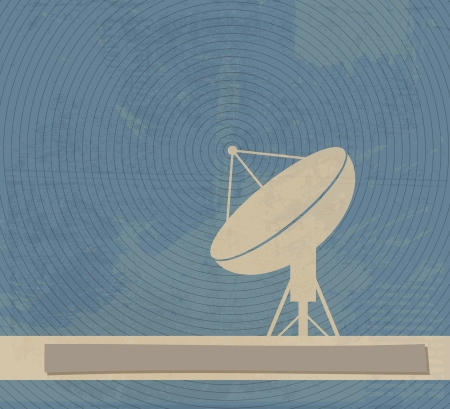 satellite tv: Satellite Dish. Retro poster Illustration