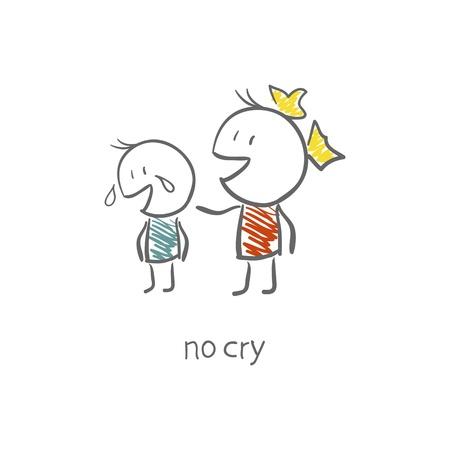 famille malheureuse: La jeune fille a r�confort� le gar�on qui pleurait