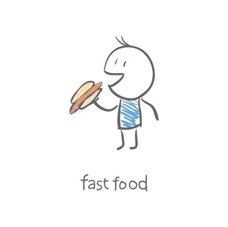 man eat a hot dog