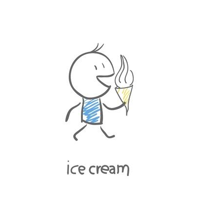 eating ice cream: Man eating ice cream