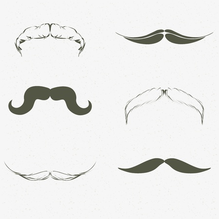 curled lip: Hand drawn mustache set