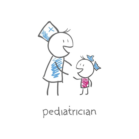 sick girl: pediatrician with child