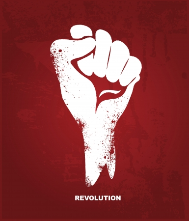 protest signs: Clenched fist hand   Revolution concept